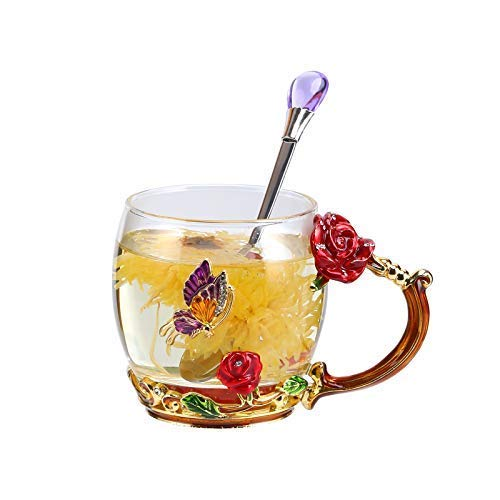 Unique 2018 New Birthday Presents Mother Day Gift for Women Girl Boyfriend Novelty Flower Glass Tea Cups Coffee Mug (red-2)