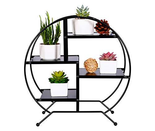 - PAG 4-Tier Metal Desktop Shelf Succulents Micro Plant Pot Holder Stand Photo Display Rack for Home and Office,Black