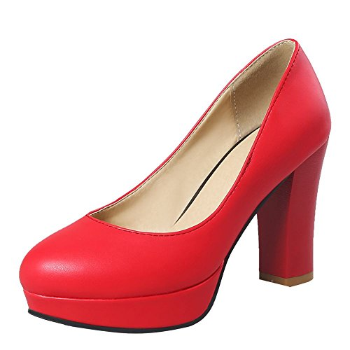 Carolbar Women's Fashion Concise Block High Heel Platform Court Shoes Red 0zbewxFo8E