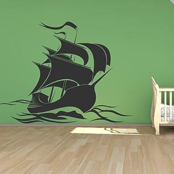 Good Piraten Schiffs Segeln Silhouette Boote Wandaufkleber Badezimmer Haus Dekor  Kunst Abziehbilder