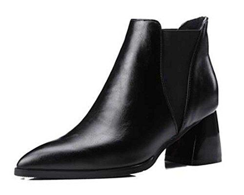 Chfso Kvinna Elegant Fast Spetsig Tå Elastisk Mitten Tjock Klack Boots Svart