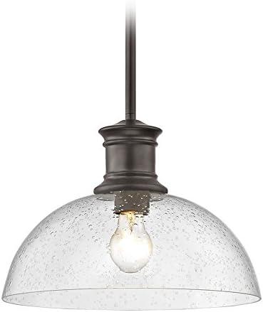 Industrial Seeded Glass Pendant Light Bronze 13-Inch Wide