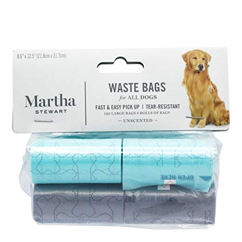 Martha Stewart Dog Waste Bags | Large Unscented Doggie Bags for a Quick Cleanup | Extra Thick and Strong Waste Bags for…