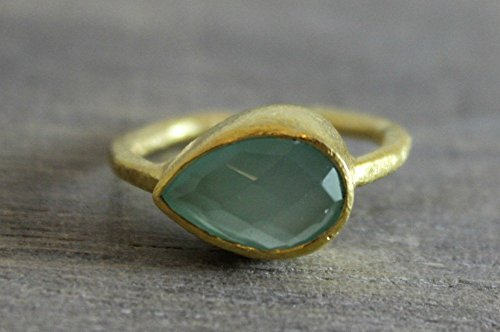 Aqua Chalcedony Gold Plated Sterling Silver Ring Size 9