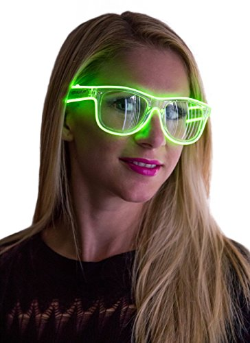 Neon Nightlife Green Frame/Clear Lens Wayfarer 55mm Light Up Glasses