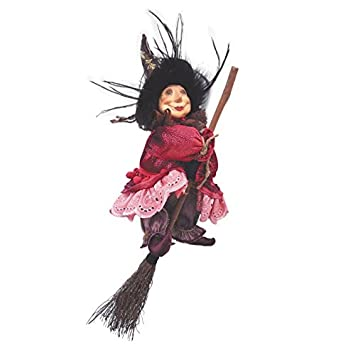 Witches of Pendle – Anne Redfearn Witch Flying Burgundy 24cm