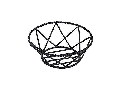 G.E.T. Enterprises Black Round Braided Rim Metal Wire Basket Iron Powder Coated Wire Baskets Collection 4-31433 (Pack of 1)