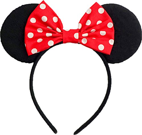 Minnie Mouse Ears Inspired Classic Red And White Polkadots Hair Bow Headband Women Mickey Birthday Party Theme Outfit by Sweet in the City -