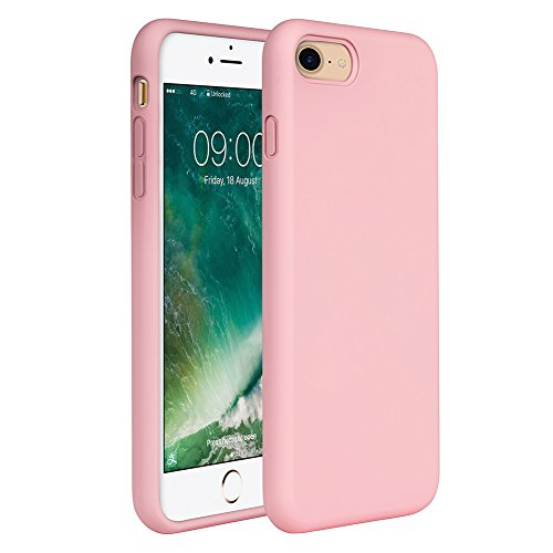 Iphone Pink Silicone (iPhone 8 Silicone Case, iPhone 7 Silicone Case Miracase Liquid Silicone Gel Rubber Case Full Body Protection Shockproof Cover Case Drop Protection for Apple iPhone 7/ iPhone 8(4.7