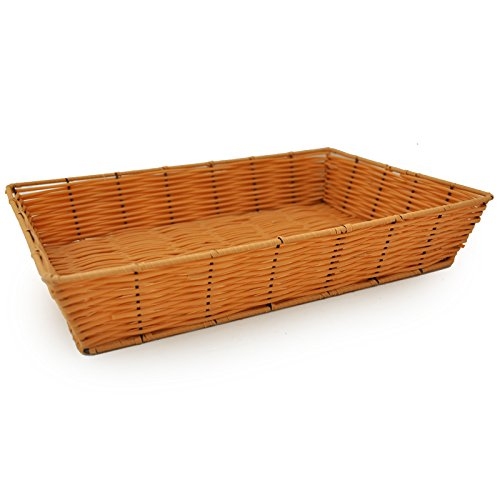 The Lucky Clover Trading Rectangular Synthetic Wicker Tray Basket, Clay