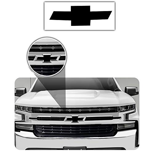 Bogar Tech Designs - Pre Cut Emblem Bowtie Overlay Vinyl Decal Compatible with Chevy Silverado 2019, Matte Black