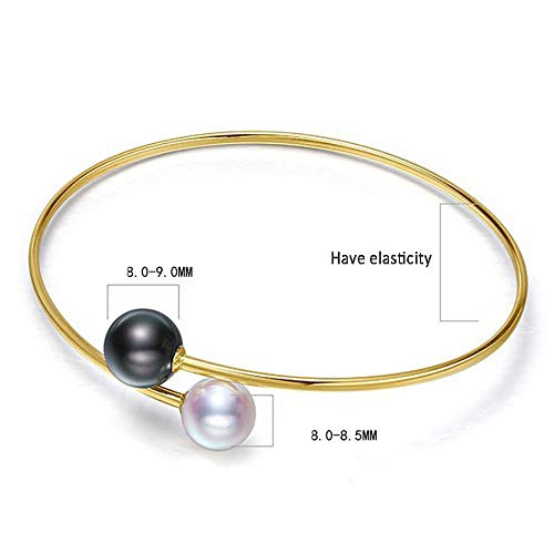 (Fashion Jewelry@ 18K Yellow Gold 8-9mm Quality Round White Japanese Akoya Pearl/Black Tahitian Pearl Bracelet Real Gold Bracelets- AAAA Quality)