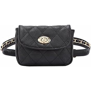 Soft PU Leather Purse Bag Mini Clutch Bag Phone Bag Pocket Fanny Pack with  Handfree Chain Belt Woman s Handbag (Black) 0cce01cea3a4c