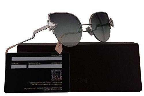 Fendi FF0242/S Sunglasses Silver w/Green Violet Gradient Gradient 52mm Lens VGVQC FF0242S FF 0242S FF - Channel Glasses Sun