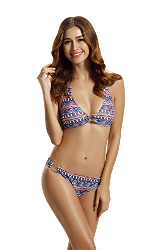 zeraca Women's Hisper Bottom Halter Bikini Bathing Suits (S6, Floral)