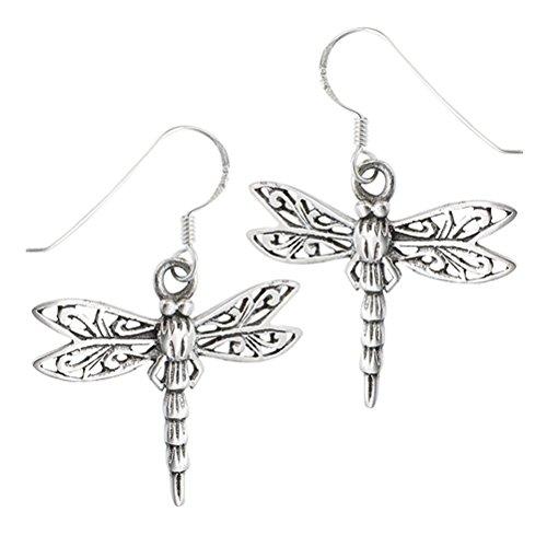Pretty Sterling Silver Filigree Dragonfly Hook Earrings