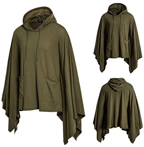 SFE❤️ rabatte bis zu 60%❤️Mens Pocket Irregular Patchwork Loose Bat Sleeves Hooded Cloak Cape Coat Casual Wearing Army Green]()