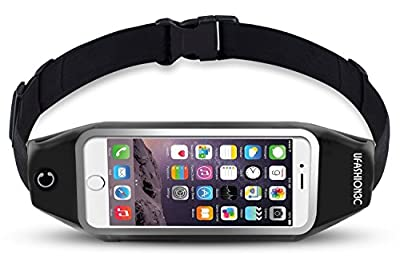 uFashion3C Running Belt Pouch for iPhone 7 6S 6 Plus, Samsung Galaxy S8 Plus,S7 Edge,Note 5,4,3, LG G6,G5,G4,G3 - Water Resistant Reflective Zipper Fanny Waist Pack for Workout & Fitness,Women & Men