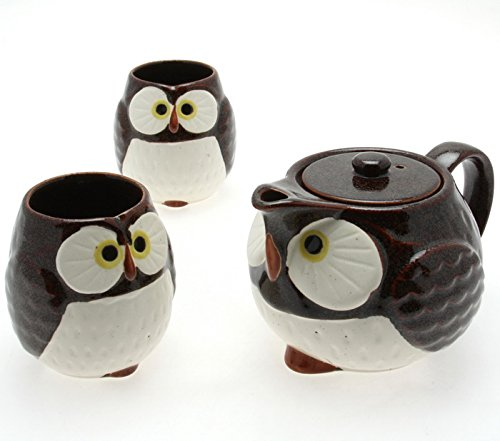 Japanese 1:2 Stella Auburn Owl Tea Pot and Tea Cups Set - 3 Pieces for Made in Japan #110-544