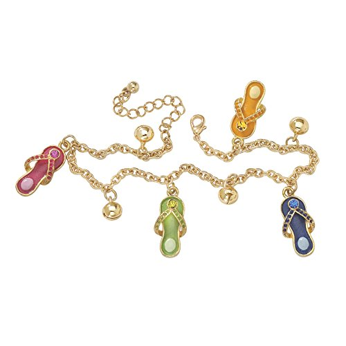 Austrian Crystal Flip Flop - Seta Jewelry Simulated Austrian Crystal and Enamel Yellow Gold Tone Flip-Flop Charm Ankle Bracelet 9