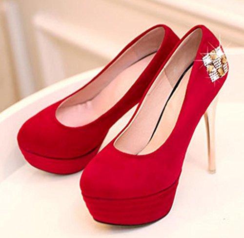 Nuevos 37 tacón Rojo YCMDM 34 33 Size32 Zapatos 43 Azul 41 red individuales 38 Negro zapatos 35 alto 39 42 Mujeres 36 de 40 attqndwz