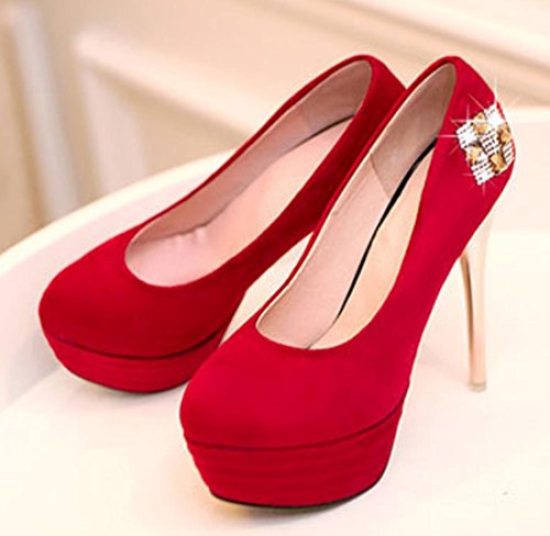 YCMDM New High heeled scarpe donne single Blu Rosso Nero Size32 33 34 35 36 37 38 39 40 41 42 43 , red , 39