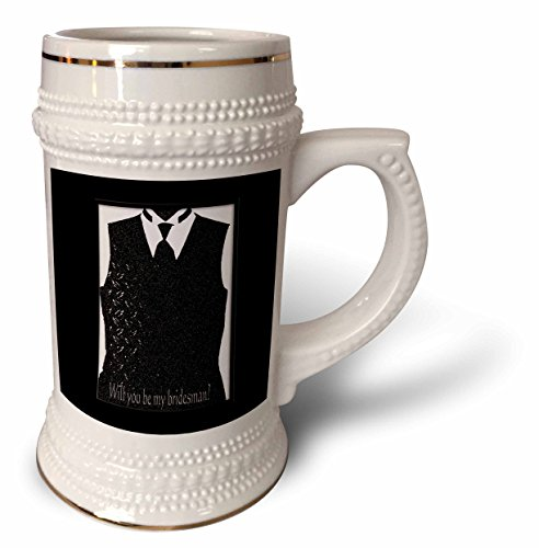 - Beverly Turner Wedding Attendant and Bridal Party - Tux Vest with Tie, Brides-man Request, Black and White - 22oz Stein Mug (stn_244131_1)