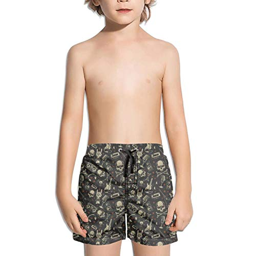 - XULANG Kid Skull with CD Guitar White Board Shorts Watersports Swimming Casual Boardshorts