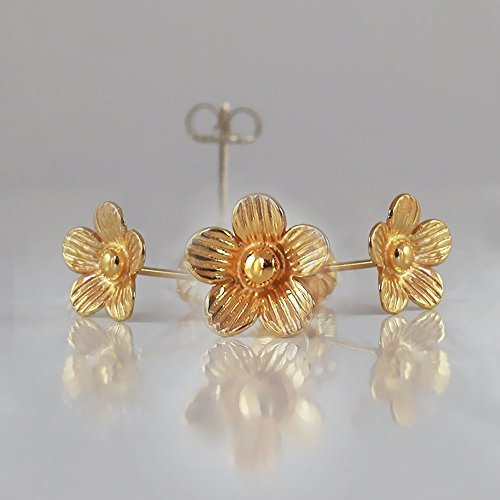 Amber Gold Plated Ring - Flower Stud Earrings in Gold-Plated 925 Sterling Silver Nickel free, Handmade Designer, under 30