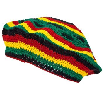TAM BERET Hand Crochet Knit Slouchy Dread Rasta Reggae Hat with STRIPES -
