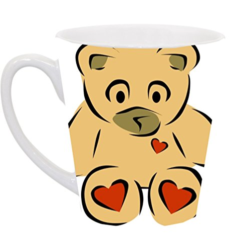 Vinyl Decal Printed Design Teddy Bear with Hearts 12 Ounce Latte Ceramic Coffee Mug Tea Cup by Smarter Designs