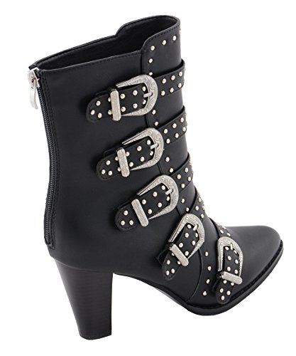 Milwaukee PerformanceWomen's Buckle up Boot with Studded Bling (Black, Size 7)