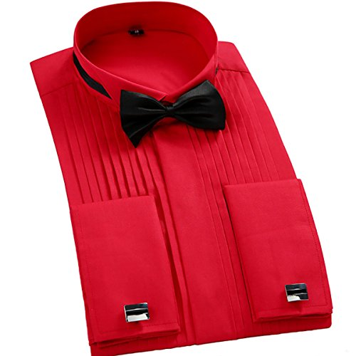 TAOBIAN Mens Pleated Tuxedo Shirt French Cuff Formal Dress Shirt Wing Tip Collar Red US ()