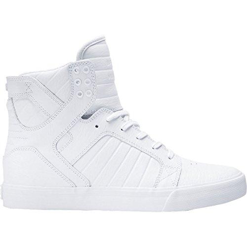 Supra Skytop Medium High Fashion Sneaker Shoe - White/White-Red - Mens - 11 - Supra Skytop Sneakers