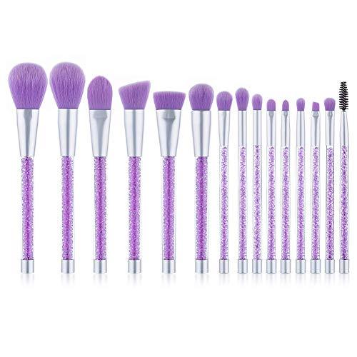 UNIMEIX Makeup Brushes 15 Pieces Makeup Brush Set Premium Face Eyeliner Blush Contour Foundation Cosmetic Brushes for Powder Liquid Cream Purple