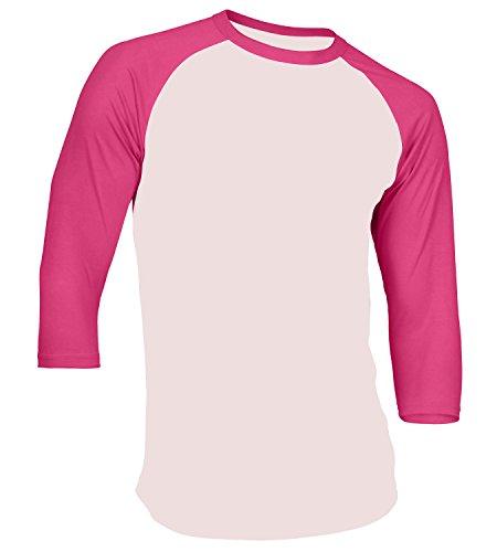 T-shirt Raglan Tone (Men's Plain Athletic 3/4 Sleeve Baseball Raglan Shirt,White-Pink(M))