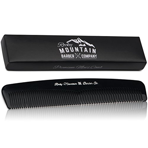 Men's Hair Comb – Plastic Modern Fine and Medium Tooth Comb Handmade for Head Hair, Beard, & Mustache - No Snag, Barber Grade Performance in Gift Box by Rocky Mountain Barber Company (Company Sunglasses Best)
