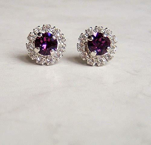 Purple Round Halo Crystal Stud Earrings Simulated Amethyst February Birthstone Gift Idea SP