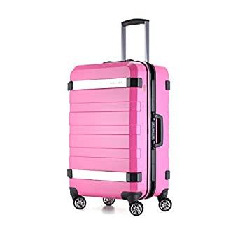 Image of Ambassador Luggage Aluminum alloy Frame carry on Hard Shell Luggage with spinner Double wheels traveling suitcase (pink) Luggage