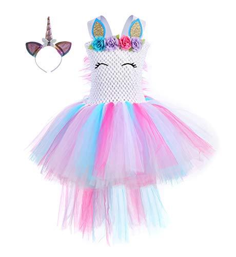 Tutu Dress Costume (Girls Birthday Unicorn Tutus Costumes Rainbow Fluffy Tutu)