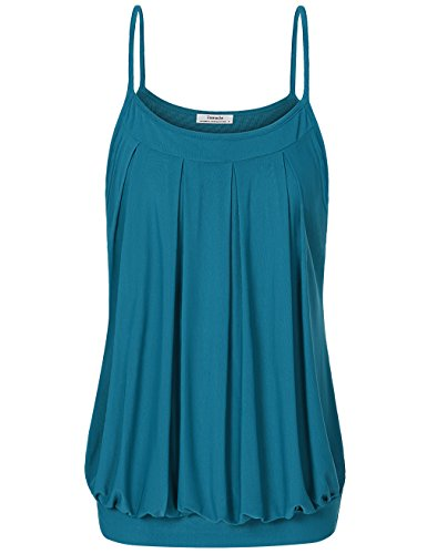 Youtalia Cami Tank Tops for Women, Summer Layered Pleated Front Spaghetti Strap Camisoles Blouses and Shirts,X-Large Royal Blue