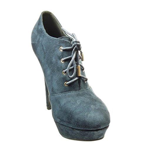 Angkorly - Zapatillas de Moda Botines low boots stiletto zapatillas de plataforma mujer Talón Tacón de aguja alto 12 CM - Azul
