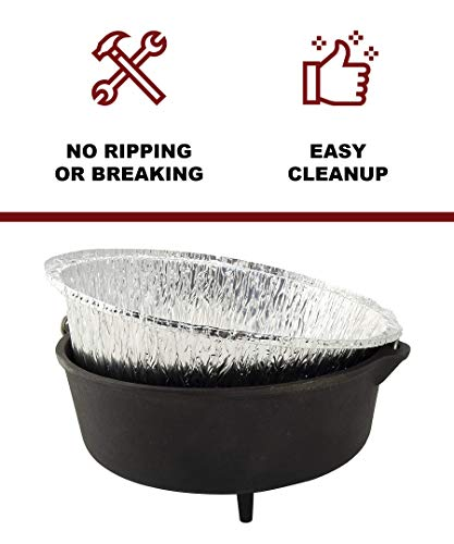 "Campliner Disposable Foil Dutch Oven Liner, 12 Pack 12"" 6Q liners, No more Cleaning or seasoning, perfect accessory. Lodge, Camp Chef by CAMP LINER (Image #1)"
