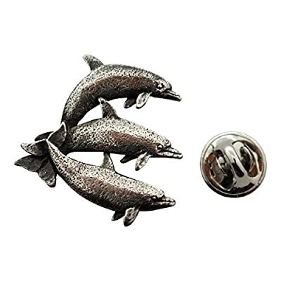 Top Three Dolphins Pin ~ Antiqued Pewter ~ Lapel Pin ~ Sarah's Treats & Treasures for sale