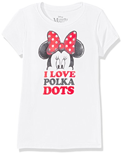 UPC 888823948170, Disney Big Girls' Minnie Mouse Short Sleeve Tee Shirt, Dots White, Large