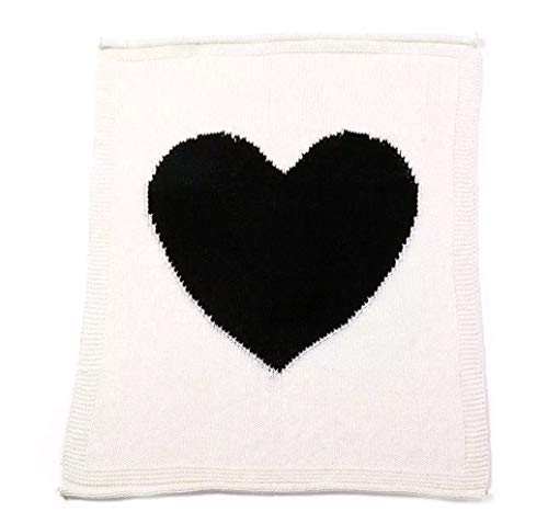 Knit Blanket Soft Baby Throw for Cribs Neutral Stroller Cover 40x30 Inch Heart Pattern, White/Black Heart ()