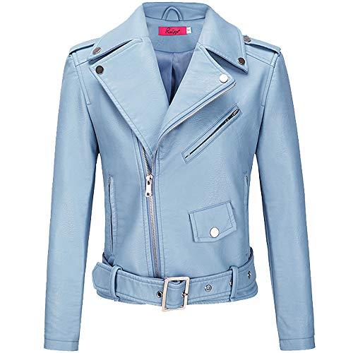 BOMBAX Womens Slim Leather Motorcycle Jacket Blazer Short Bike Coat with Pocket Fall (Blue, Large)