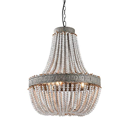 Bead Chandelier - Newrays Wood Bead Chandelier Pendant Three Lights Gray White Finishing Retro Vintage Antique Rustic Kitchen Ceiling Lamp Light Fixtures