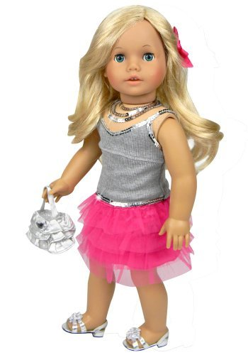 18 Inch Doll Clothes 4 Piece Skirt Set Fits 18 Inch American Girl Dolls, Includes a Gray Sequin Trim Tank, Hot Pink Tulle Skirt, Sequin Necklace, & Purse, My Doll's Life