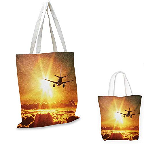 Scenery non woven shopping bag Aeroplane Aircraft Widebody Jet Flying on Air Rising Sun with Fluffy Clouds Art fruit shopping bag Multicolor. 12